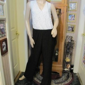 NY Collection White Lace & Black Jumpsuit 2X